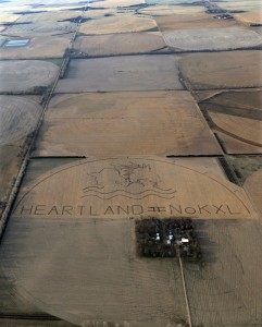 A crop art image protesting the proposed Keystone XL pipeline covers an 80 acre corn field on Art's farm. (Photo by Lou Dematteis and Bold Nebraska)
